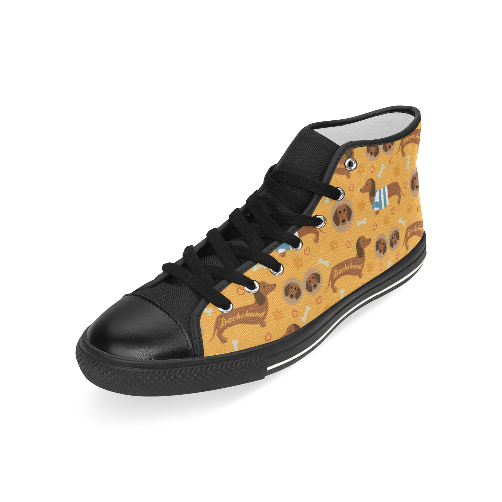Dachshund Pattern Black Men's Classic High Top Canvas Shoes - TeeAmazing