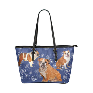 English Bulldog Lover Leather Tote Bag/Small - TeeAmazing