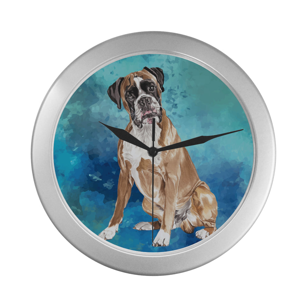 Boxer Water Colour Silver Color Wall Clock - TeeAmazing