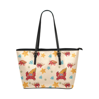 Hermit Crab Pattern Leather Tote Bag/Small - TeeAmazing