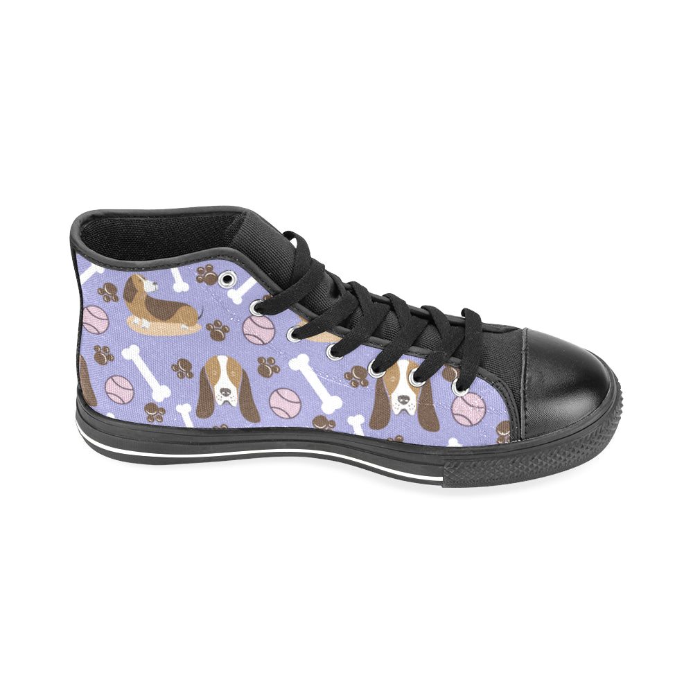 Basset Hound Pattern Black Men's Classic High Top Canvas Shoes /Large Size - TeeAmazing