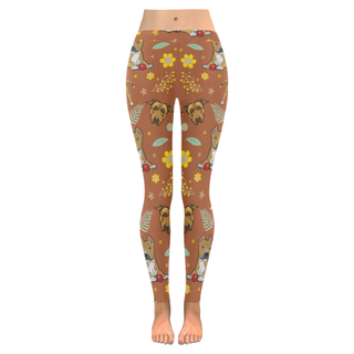 American Staffordshire Terrier Flower Low Rise Leggings (Invisible Stitch) (Model L05) - TeeAmazing