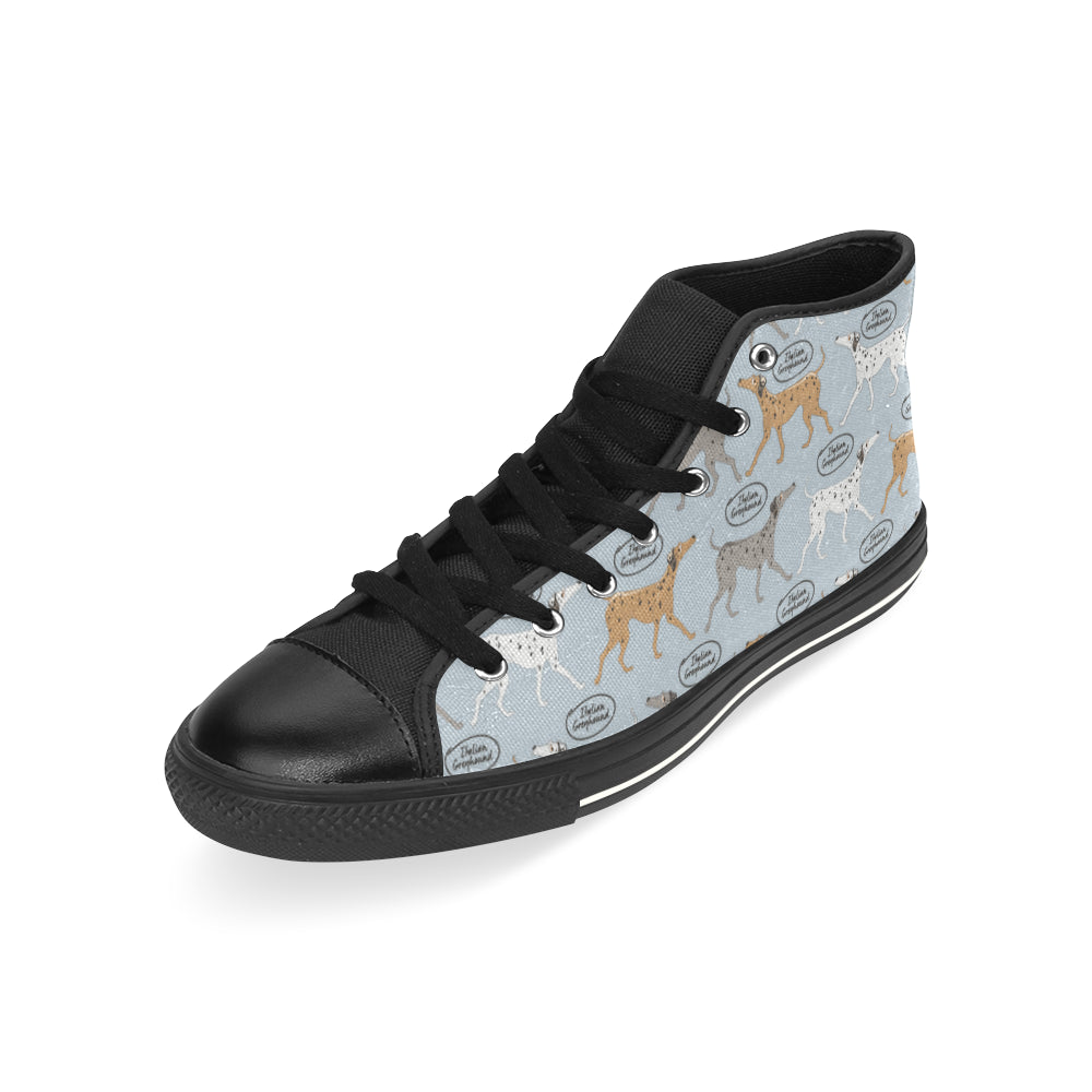 Italian Greyhound Pattern Black High Top Canvas Shoes for Kid - TeeAmazing