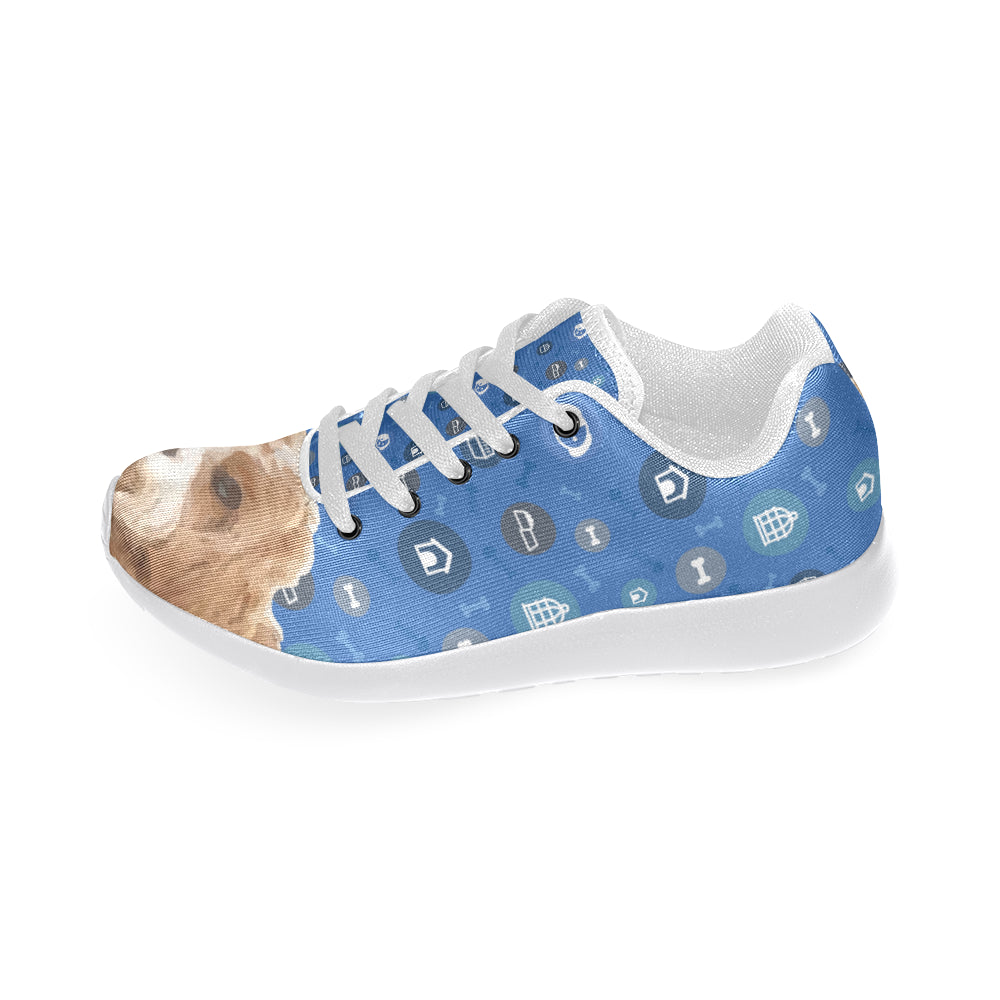 Cavapoo Dog White Sneakers for Women - TeeAmazing