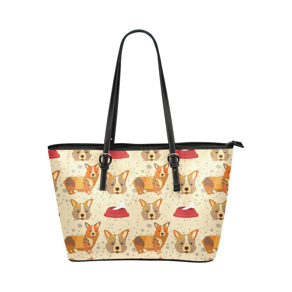 Corgi Pattern Leather Tote Bag/Small - TeeAmazing