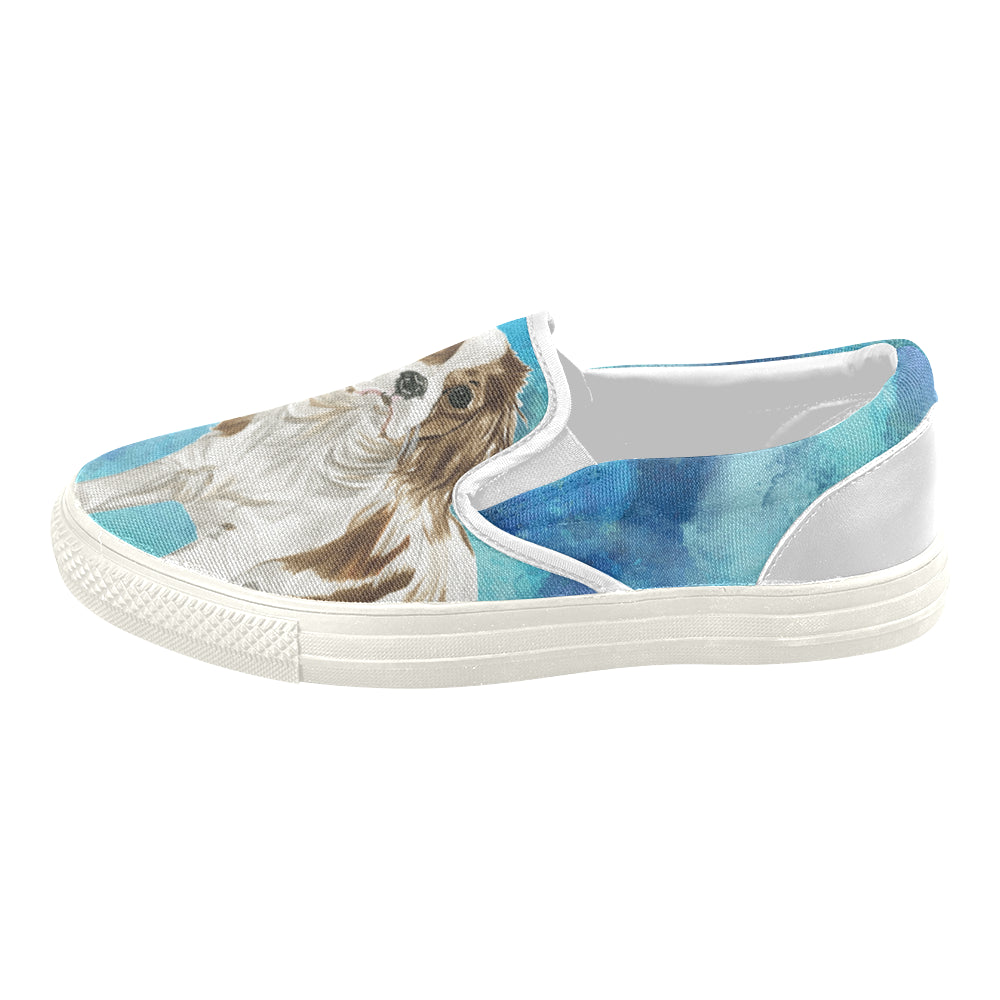 Cavalier King Charles Spaniel Water Colour No.1 White Women's Slip-on Canvas Shoes - TeeAmazing