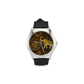 Elephant and Mandalas Women's Classic Leather Strap Watch - TeeAmazing