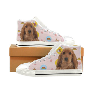 English Cocker Spaniel White Men's Classic High Top Canvas Shoes - TeeAmazing