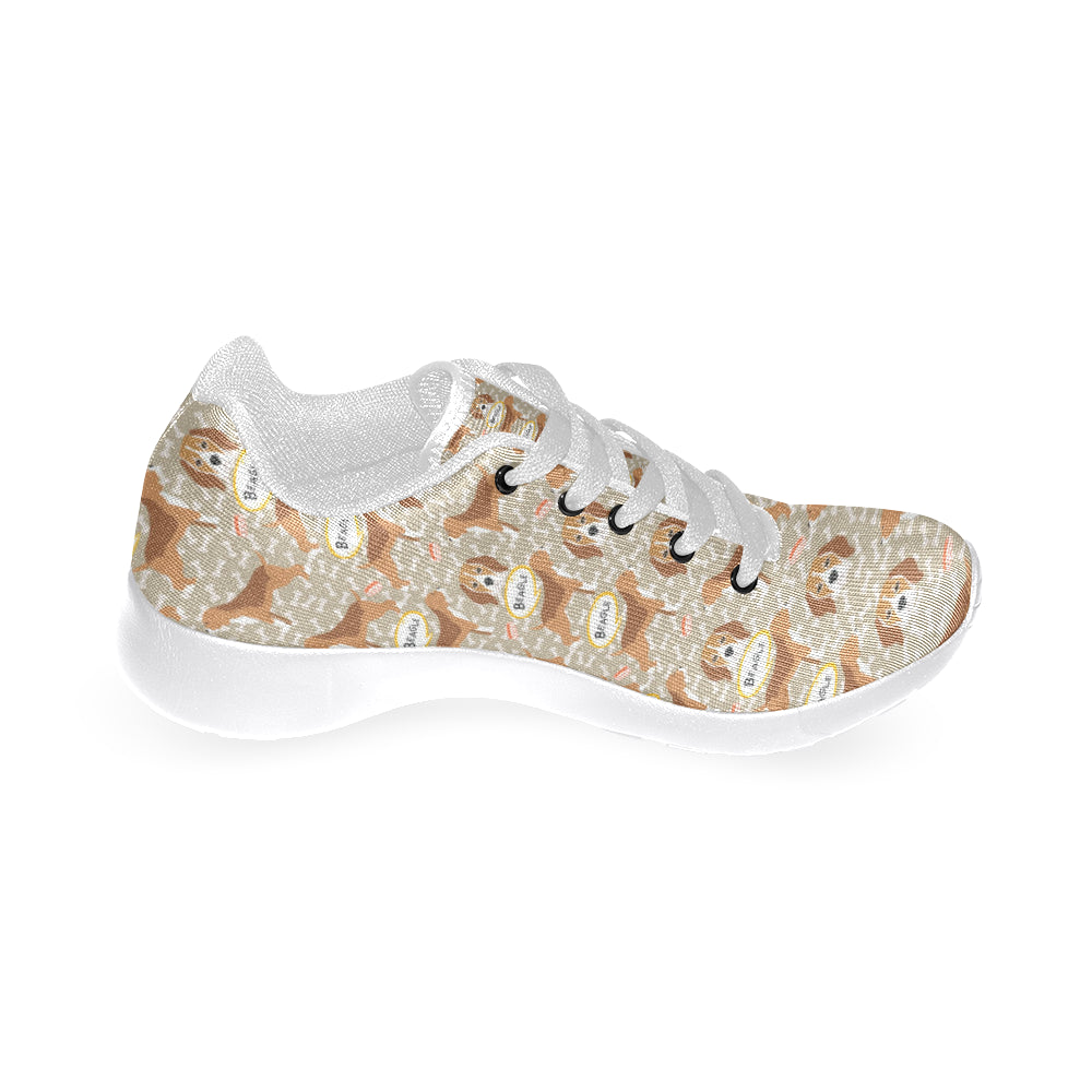 Beagle Pattern White Sneakers for Men - TeeAmazing