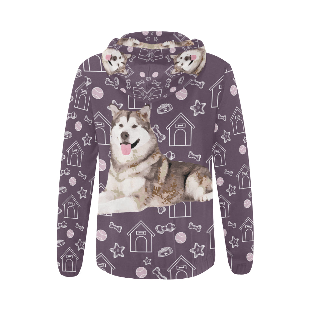Alaskan Malamute All Over Print Full Zip Hoodie for Women - TeeAmazing