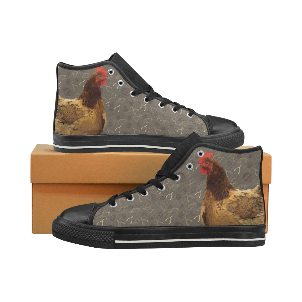 Chicken Footprint Black Women's Classic High Top Canvas Shoes - TeeAmazing