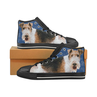 Wire Hair Fox Terrier Dog Black Men's Classic High Top Canvas Shoes /Large Size - TeeAmazing
