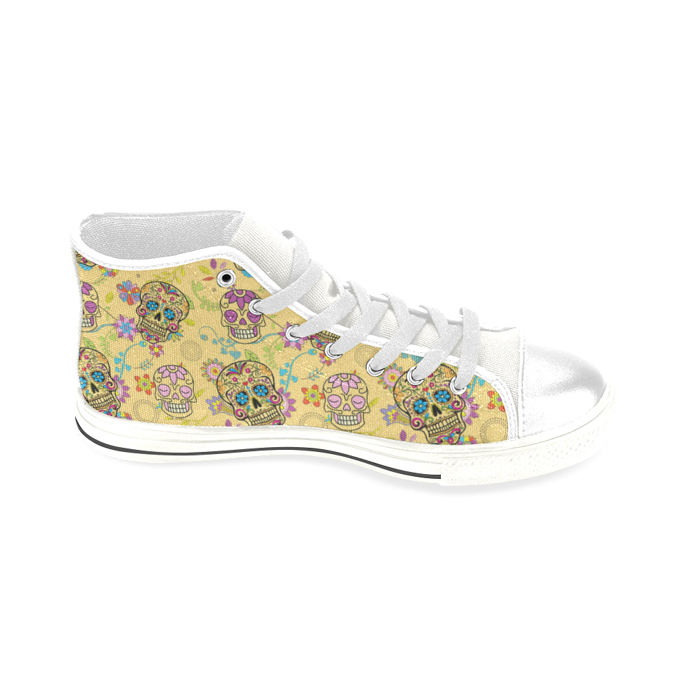 Sugar Skull White Men's Classic High Top Canvas Shoes - TeeAmazing