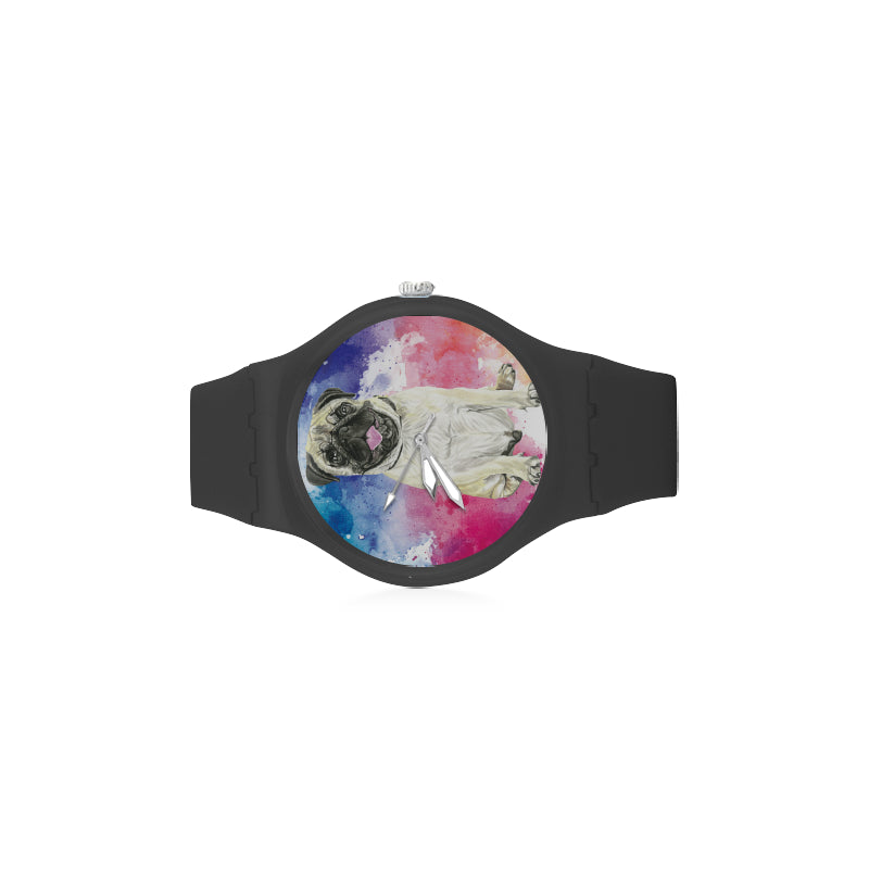 Pug Water Colour No.1 Black Unisex Round Rubber Sport Watch - TeeAmazing
