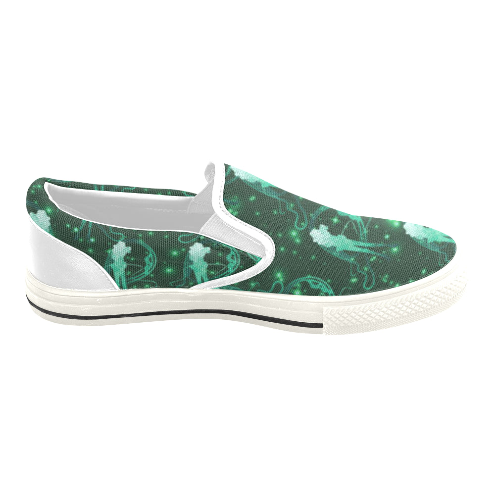 Sailor Neptune White Women's Slip-on Canvas Shoes/Large Size (Model 019) - TeeAmazing