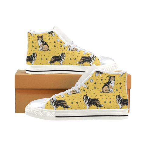 Collie White High Top Canvas Women's Shoes/Large Size - TeeAmazing