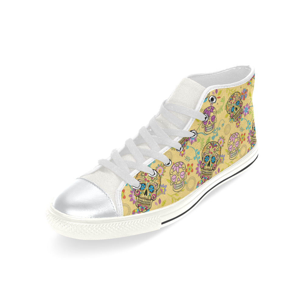Sugar Skull White High Top Canvas Women's Shoes/Large Size - TeeAmazing