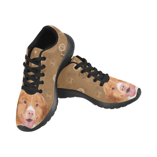 Nova Scotia Duck Tolling Retriever Dog Black Men's Running Shoes/Large Size (Model 020) - TeeAmazing