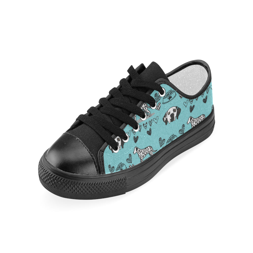 Dalmatian Pattern Black Women's Classic Canvas Shoes - TeeAmazing