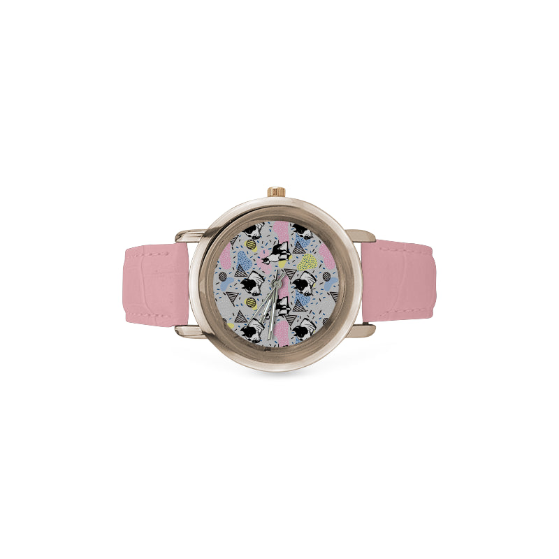 American Staffordshire Terrier Pattern Women's Rose Gold Leather Strap Watch - TeeAmazing