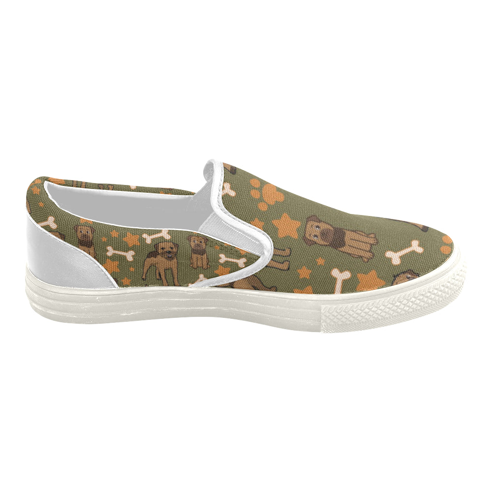 Border Terrier Pattern White Women's Slip-on Canvas Shoes - TeeAmazing