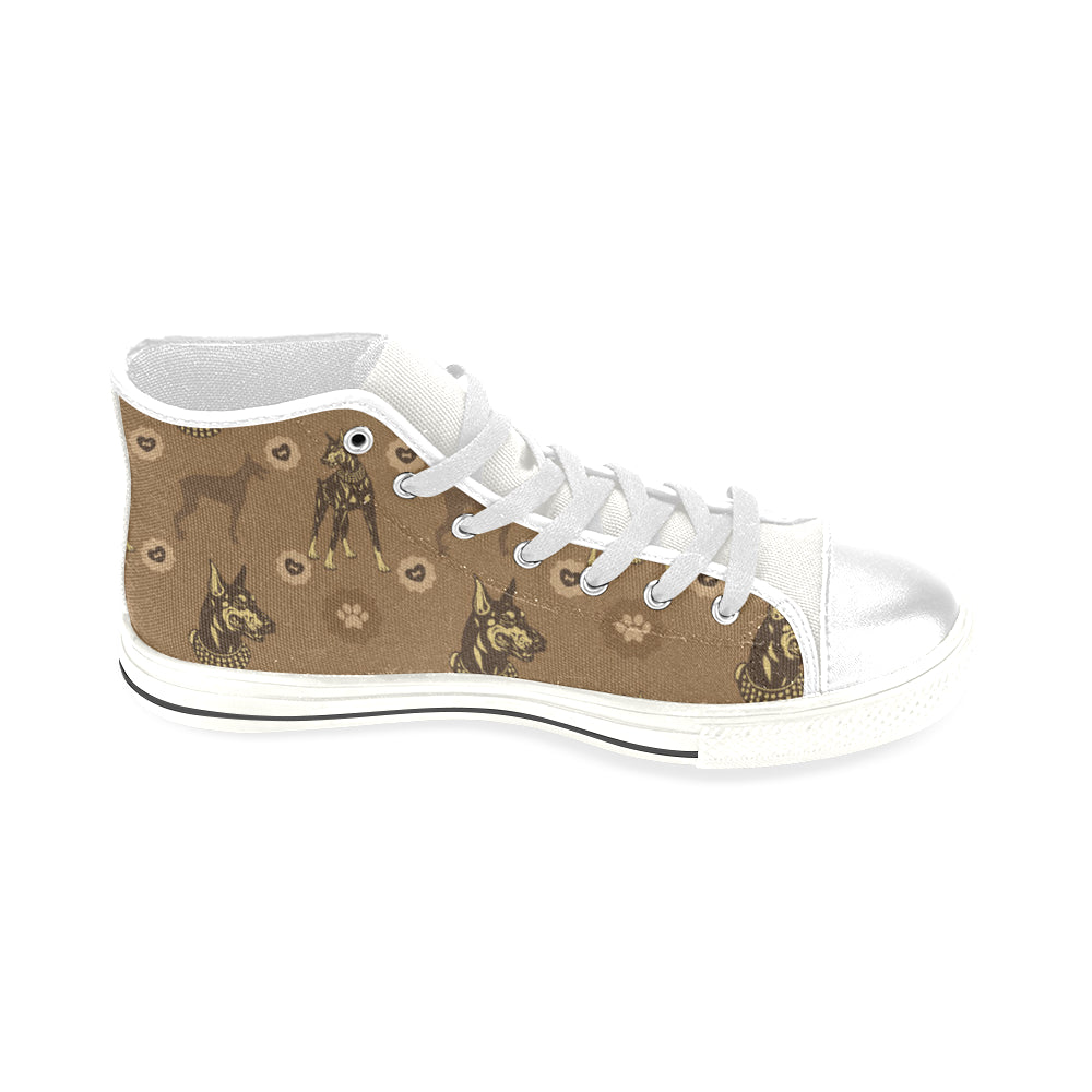Doberman White Men's Classic High Top Canvas Shoes - TeeAmazing