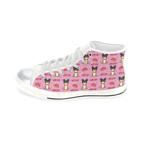 Papillon Pattern White High Top Canvas Women's Shoes/Large Size (Model 017) - TeeAmazing