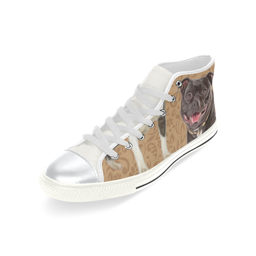 Staffordshire Bull Terrier Lover White High Top Canvas Women's Shoes/Large Size - TeeAmazing