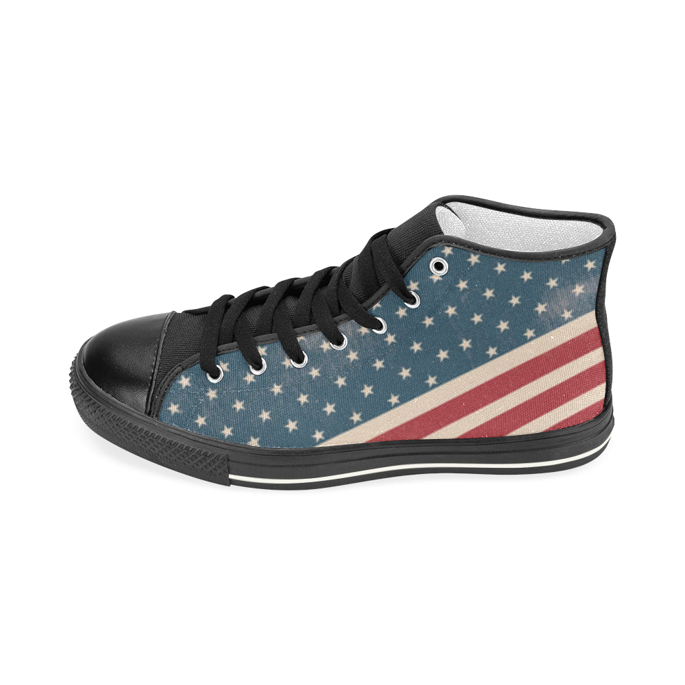 4th July V2 Black Women's Classic High Top Canvas Shoes - TeeAmazing