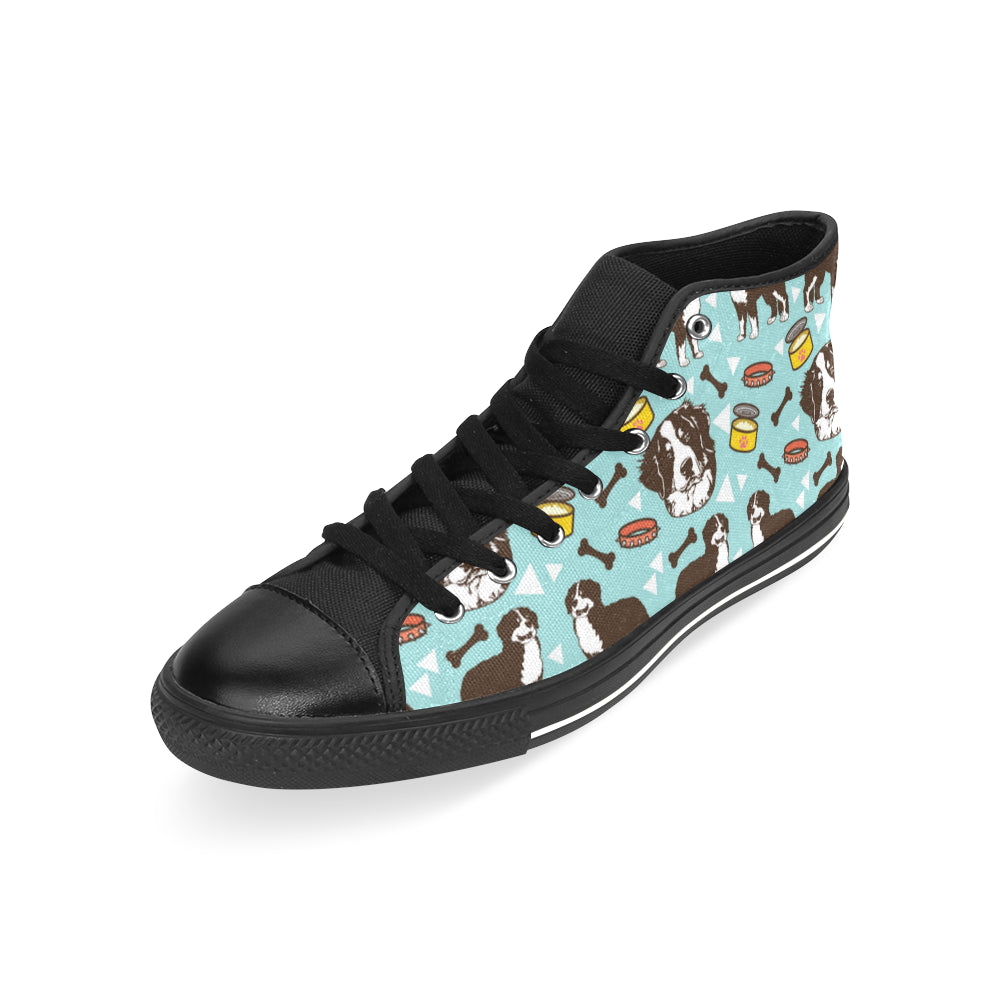 Bernese Mountain Pattern Black Men's Classic High Top Canvas Shoes /Large Size - TeeAmazing