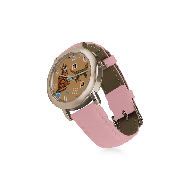 Bengal Cat Women's Rose Gold Leather Strap Watch - TeeAmazing