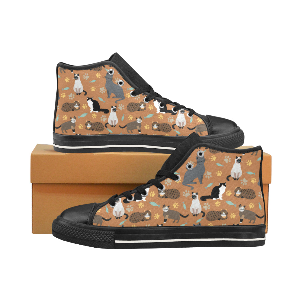 Cat Pattern Black Men's Classic High Top Canvas Shoes /Large Size - TeeAmazing