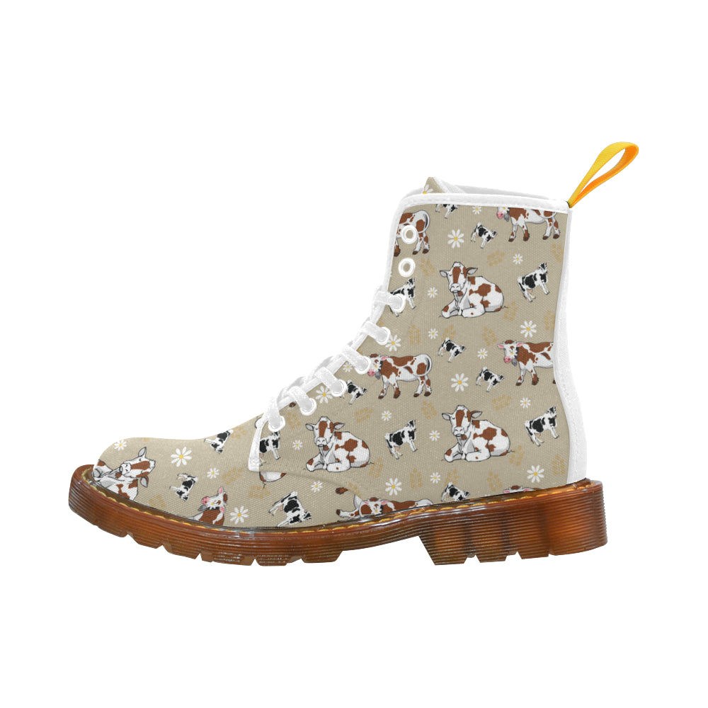 Cow Pattern White Boots For Women - TeeAmazing