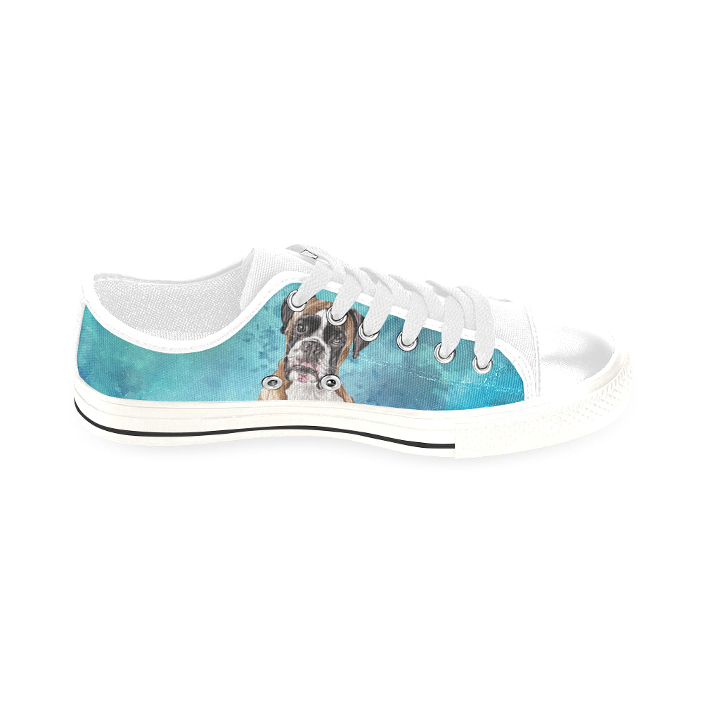 Boxer Water Colour White Men's Classic Canvas Shoes/Large Size - TeeAmazing