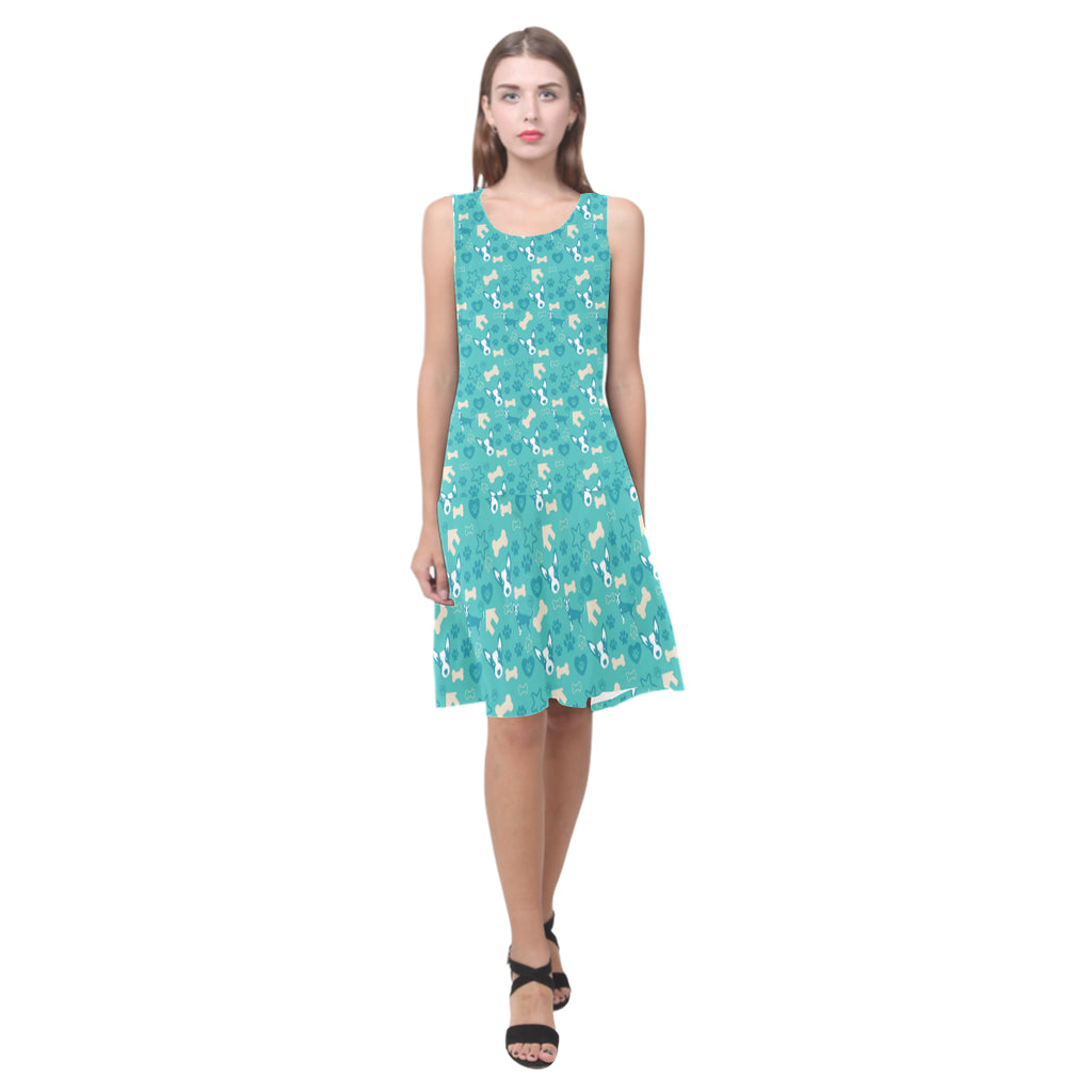 Australian Cattle Dog Pattern Sleeveless Splicing Shift Dress - TeeAmazing