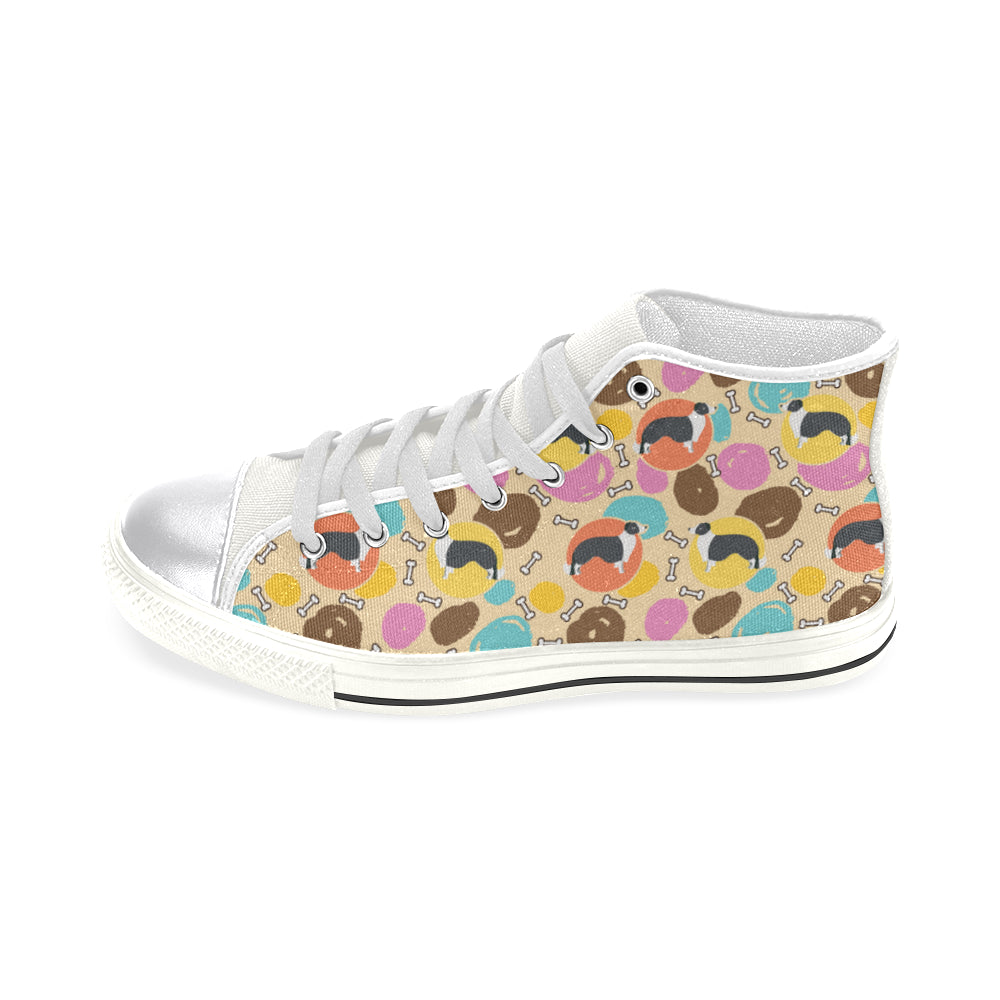 Border Collie Pattern White Women's Classic High Top Canvas Shoes - TeeAmazing