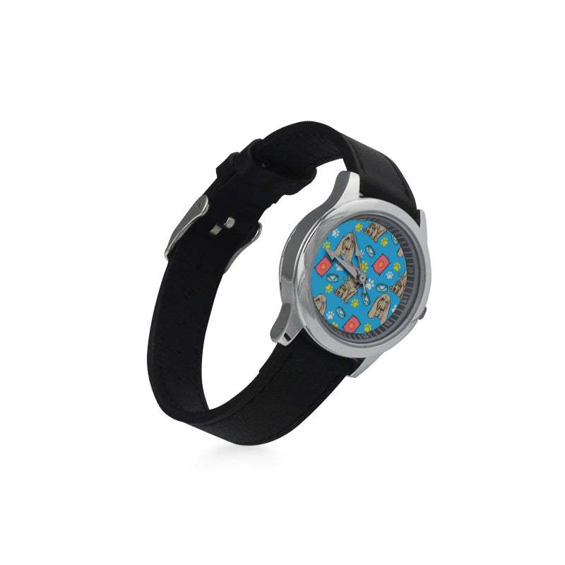 Bloodhound Pattern Kid's Stainless Steel Leather Strap Watch - TeeAmazing