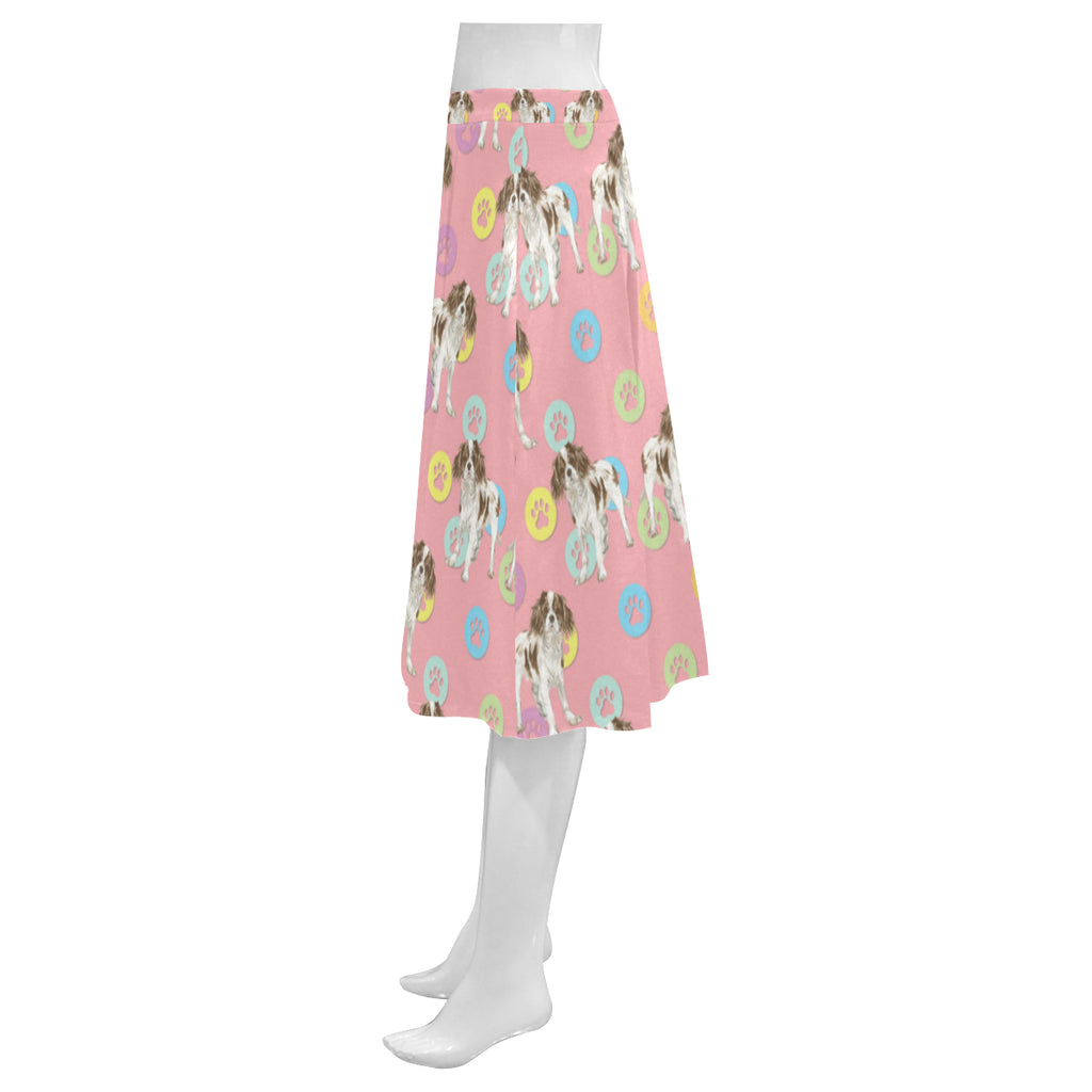 Cavalier King Charles Spaniel Water Colour Pattern No.1 Mnemosyne Women's Crepe Skirt (Model D16) - TeeAmazing
