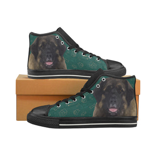 Leonburger Dog Black High Top Canvas Women's Shoes/Large Size (Model 017) - TeeAmazing