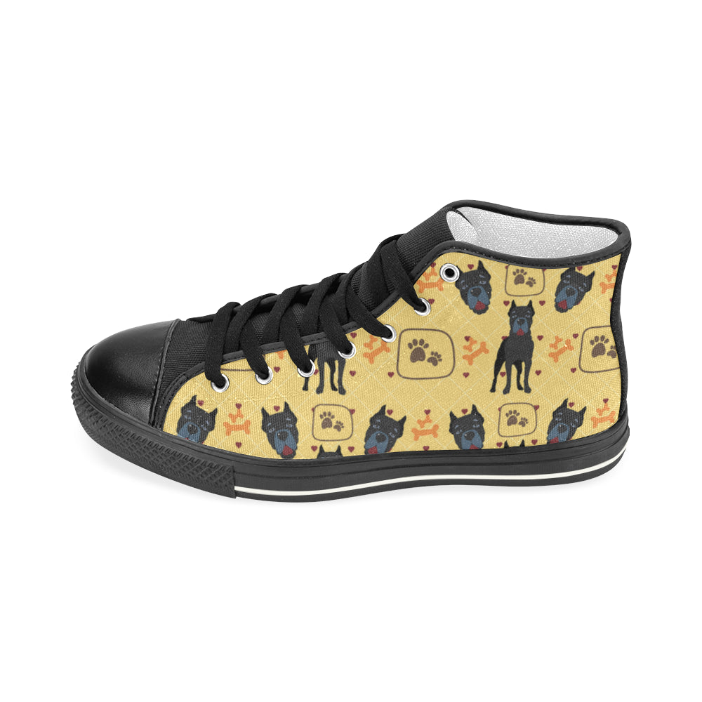 Cane Corso Pattern Black Men's Classic High Top Canvas Shoes - TeeAmazing
