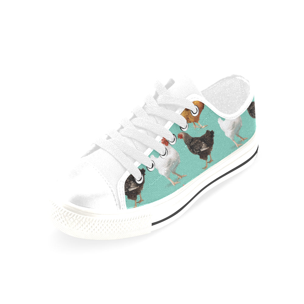Chicken Pattern White Men's Classic Canvas Shoes/Large Size - TeeAmazing
