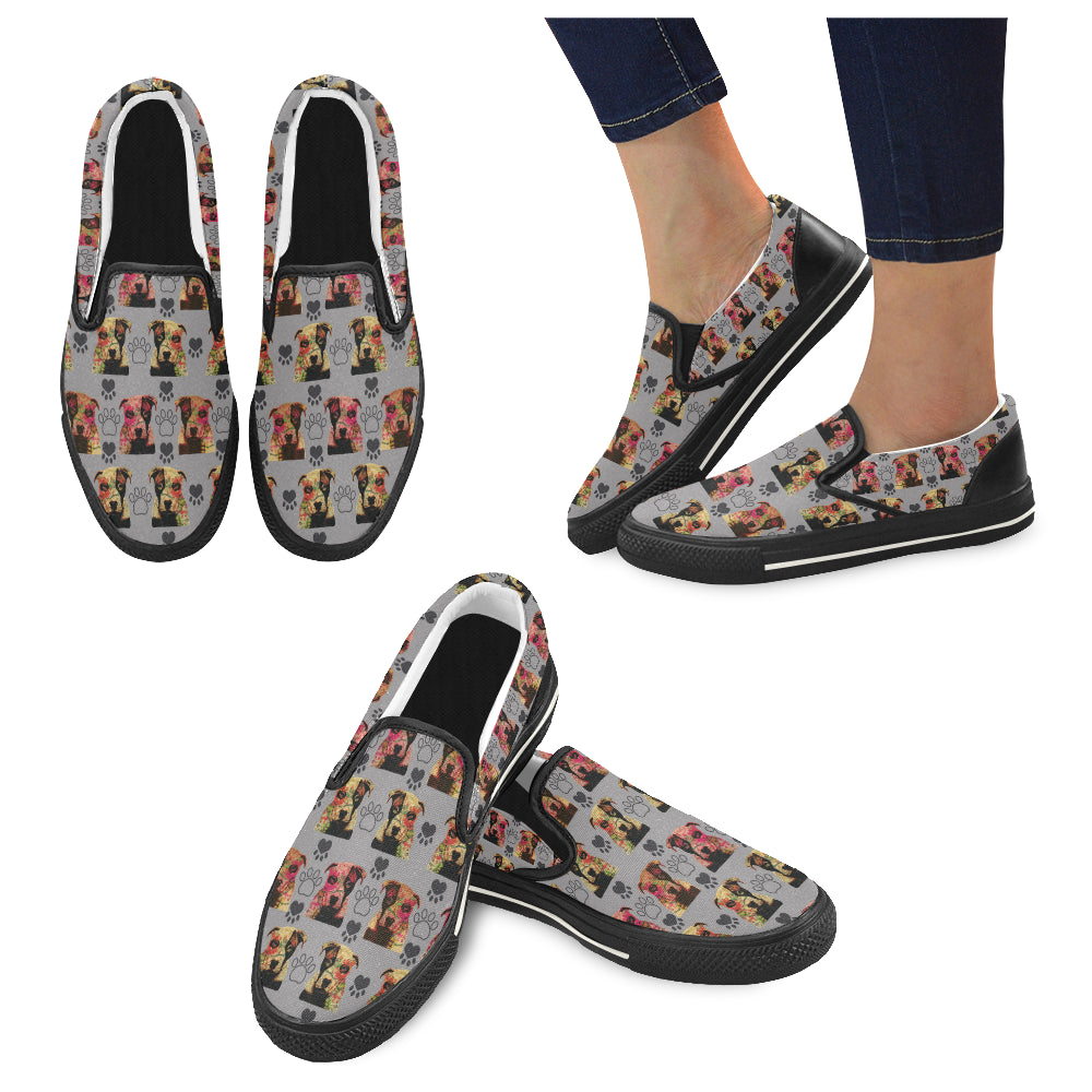 Pit Bull Pop Art Pattern No.1 Black Women's Slip-on Canvas Shoes/Large Size (Model 019) - TeeAmazing