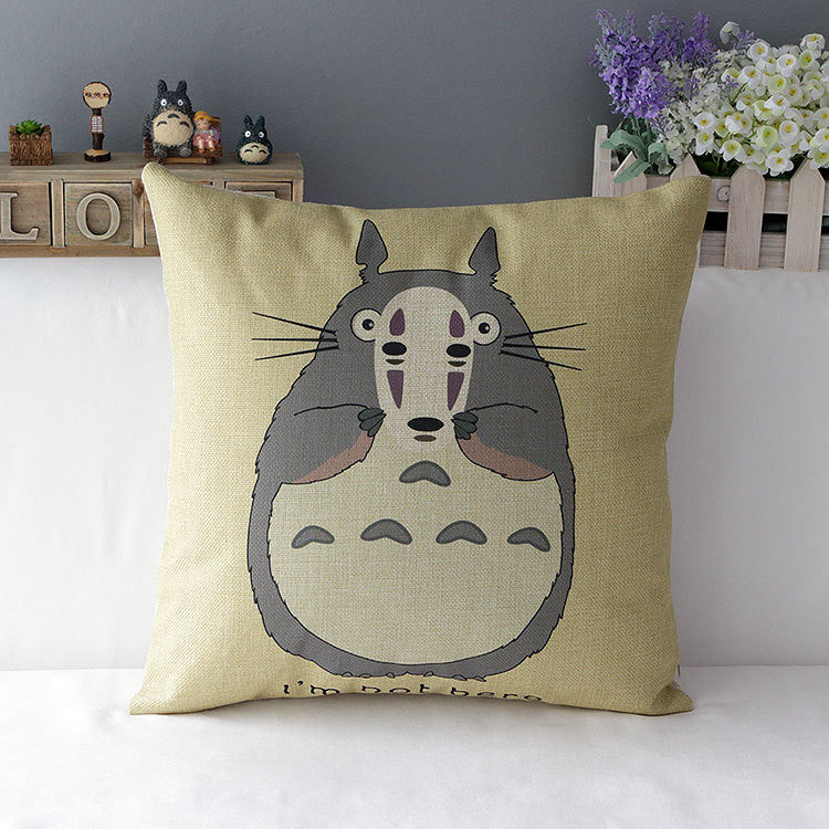 Hayao Miyazaki Totoro Home Bedding Cover Cotton Linen Throw Pillow Case Home Decorative - TeeAmazing