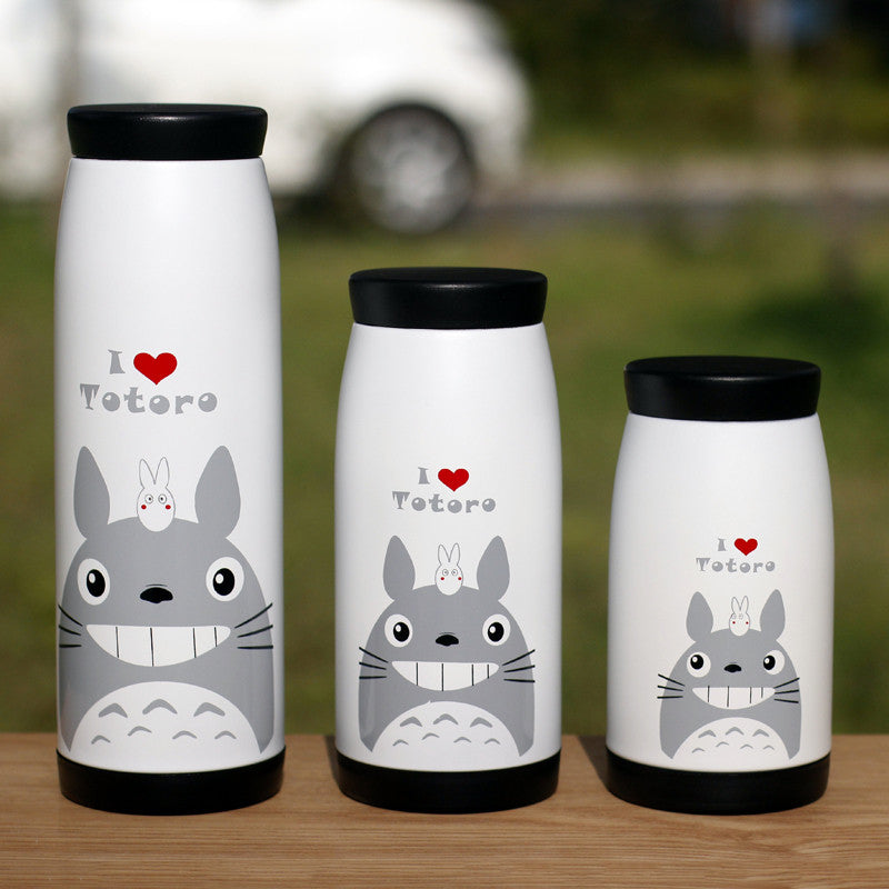 Totoro cup water vacuum stainless steel iopened cup students mug cup cartoon Miyazaki Thermoses drinkware 90558-280ml