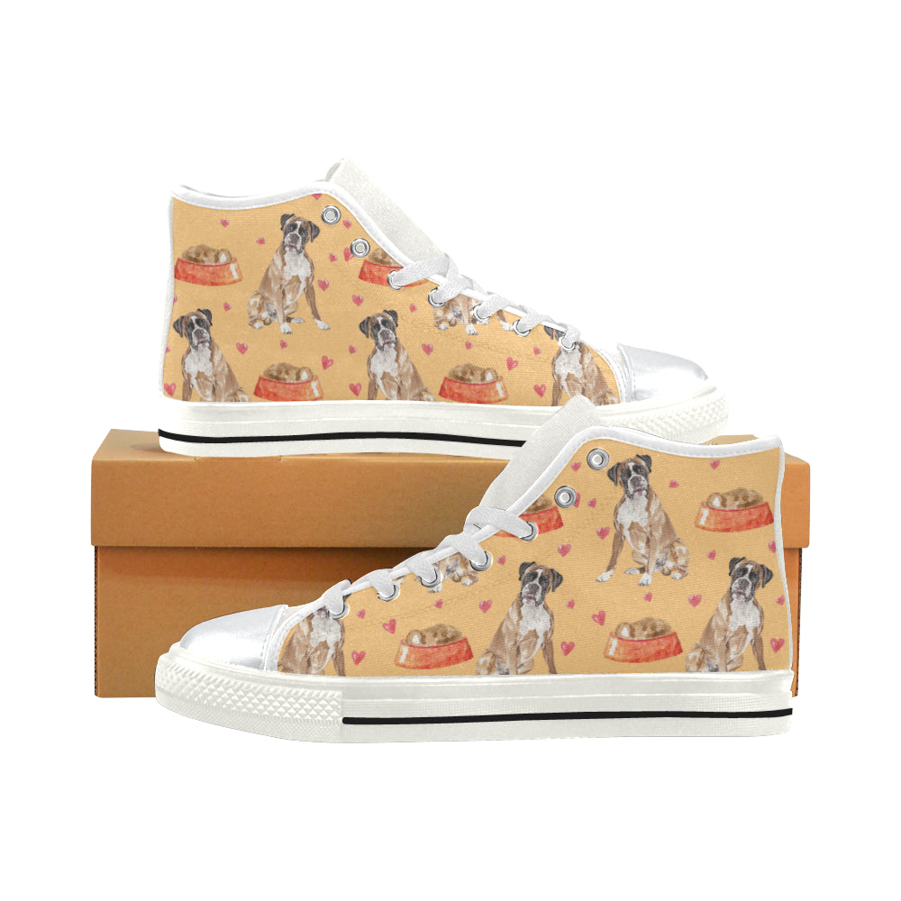 Boxer Water Colour Pattern No.1 White High Top Canvas Shoes for Kid - TeeAmazing