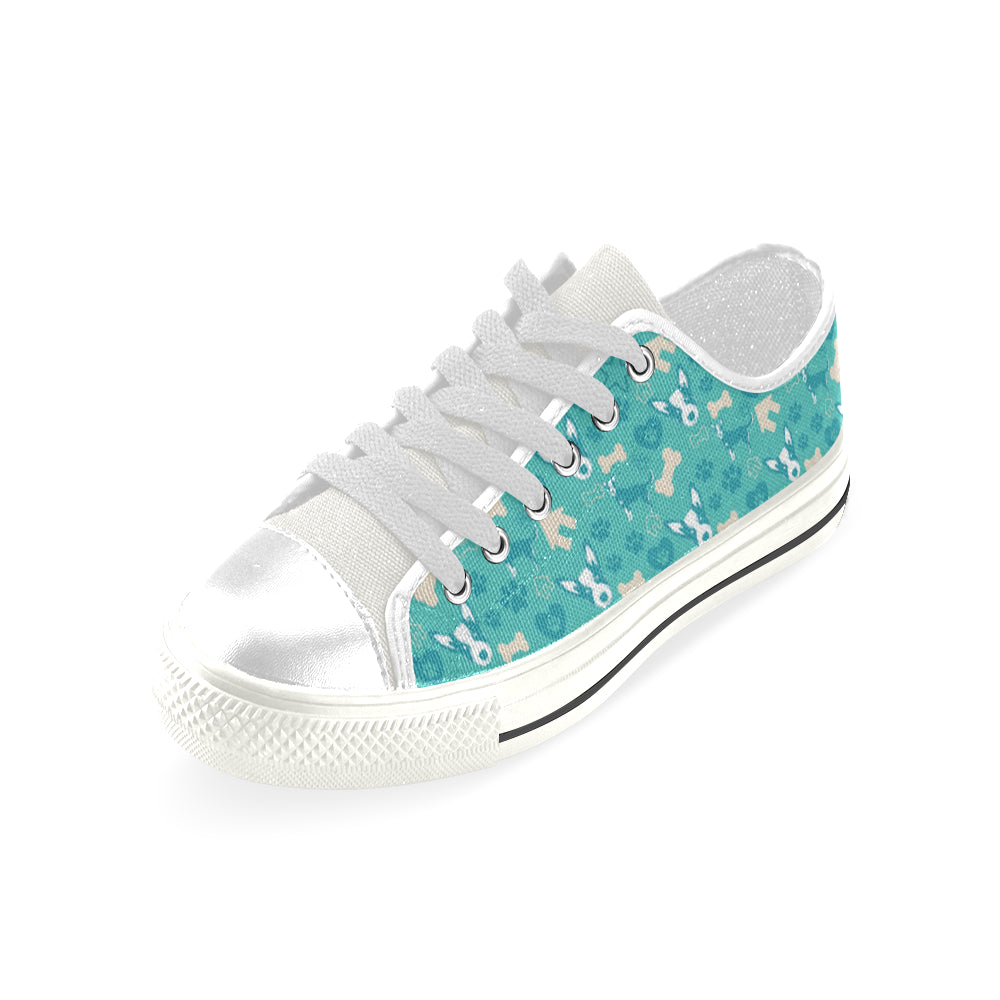 Australian Cattle Dog Pattern White Low Top Canvas Shoes for Kid - TeeAmazing