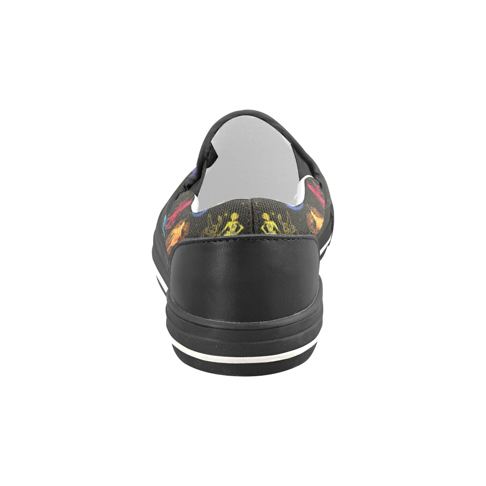 All Sailor Soldiers Black Women's Slip-on Canvas Shoes/Large Size (Model 019) - TeeAmazing
