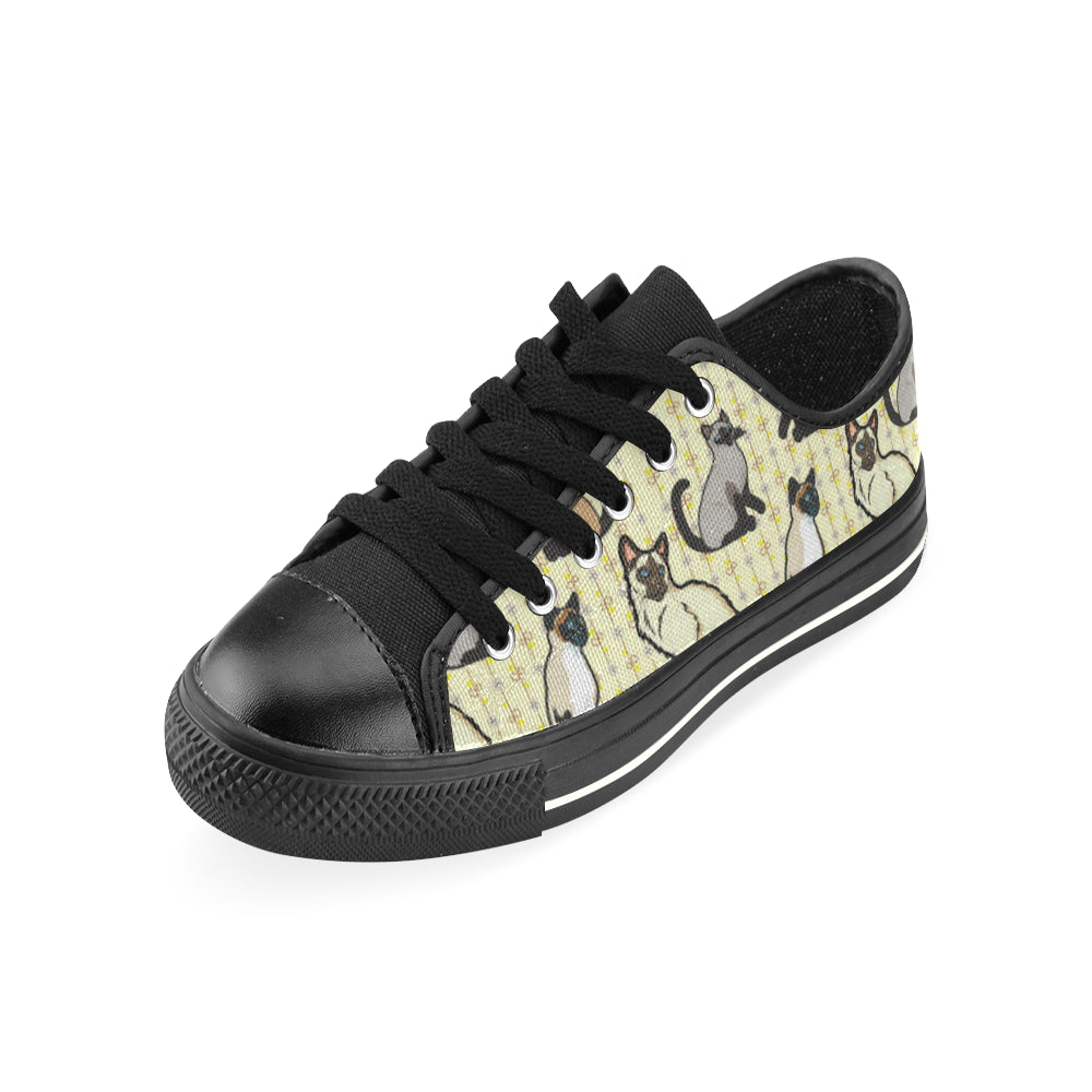 Siamese Black Low Top Canvas Shoes for Kid (Model 018) - TeeAmazing