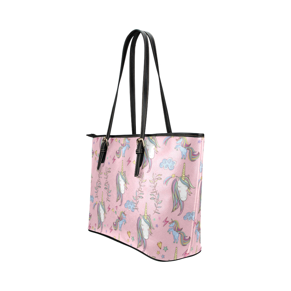 Unicorn Pattern V2 Leather Tote Bag/Small - TeeAmazing