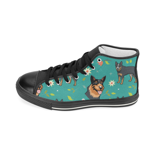 Australian Cattle Dog Flower Black Women's Classic High Top Canvas Shoes - TeeAmazing